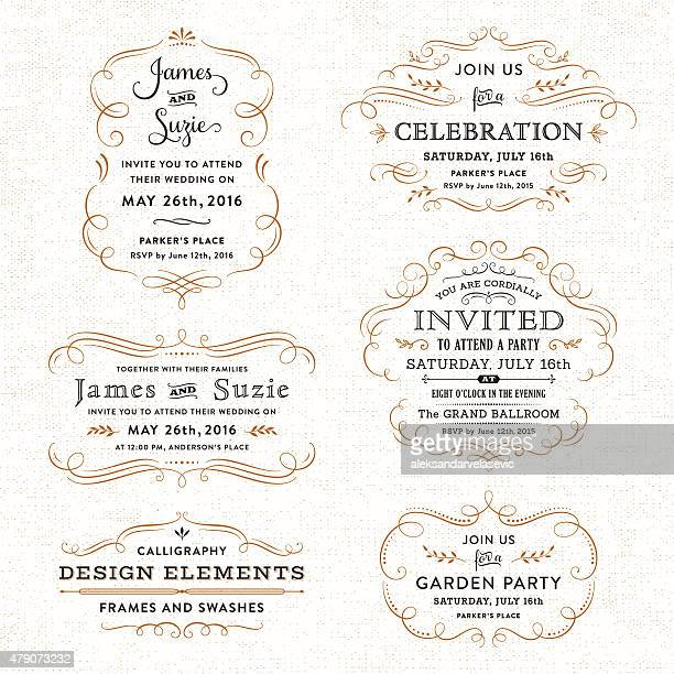 calligraphy party, wedding invitations - calligraphy stock illustrations