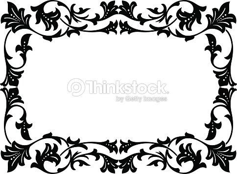 Calligraphy Penmanship Curly Baroque Frame Black Vector Art