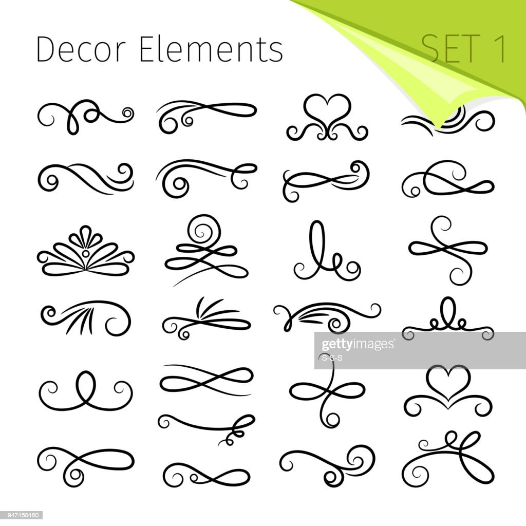 Calligraphy scroll elements. Decorative retro flourish swirled vector elements for letters, simple swirling decors