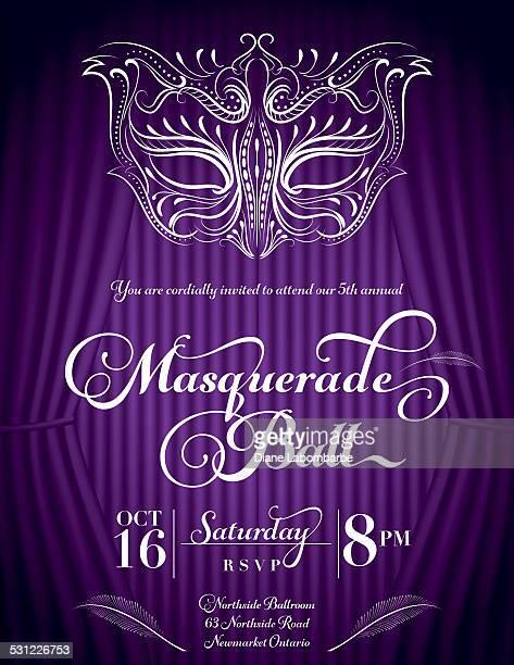 Calligraphy Style Masquerade Mask Invitation Purple