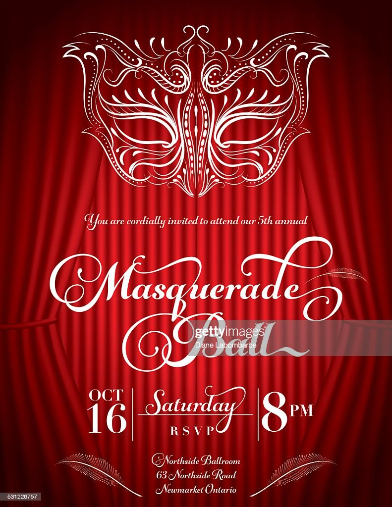 Calligraphy Style Masquerade Mask Invitation Red