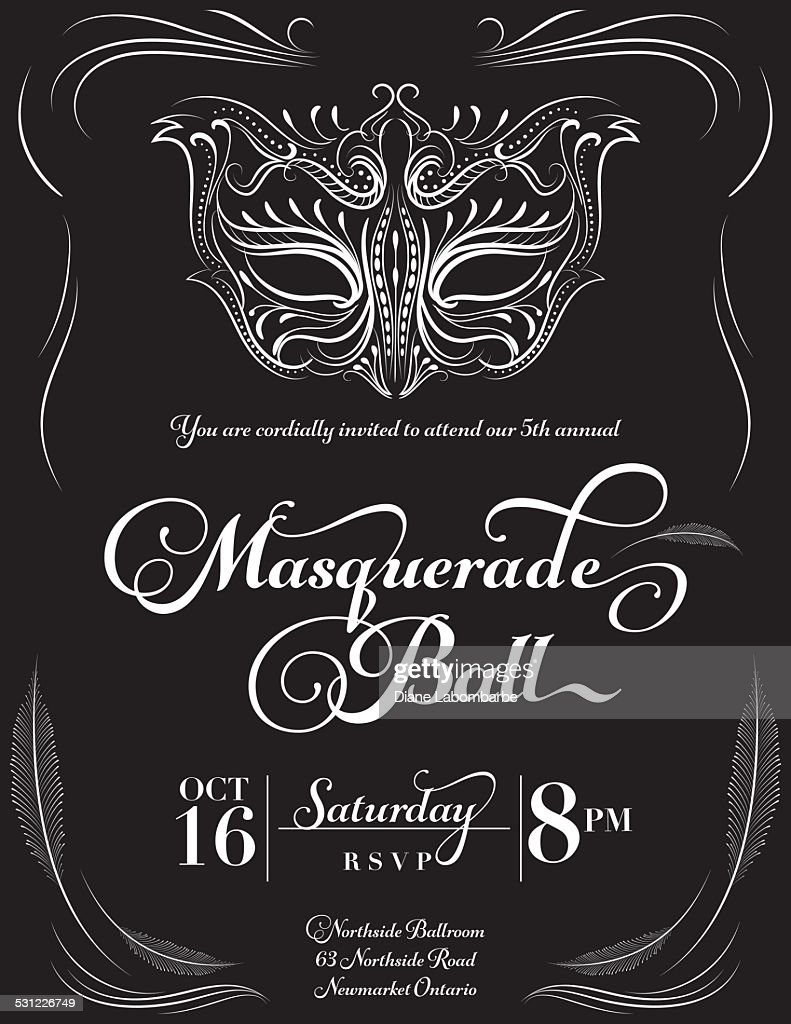Calligraphy Style Masquerade Mask Invitation Vector Art | Getty Images