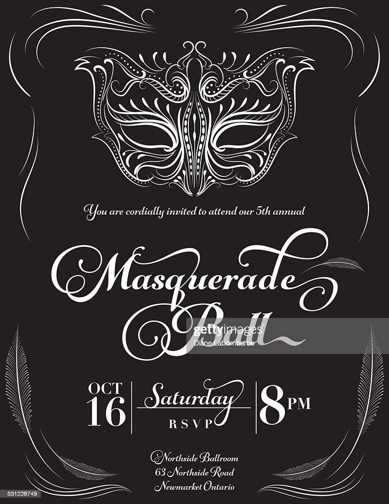 Calligraphy Style Masquerade Mask Invitation : Stock Illustration