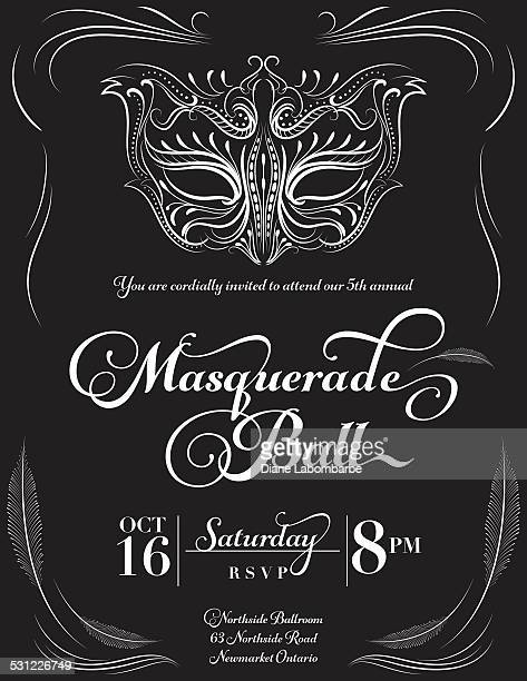 calligraphy style masquerade mask invitation - ball stock illustrations, clip art, cartoons, & icons