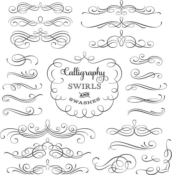 calligraphy swirls - swirl stock illustrations