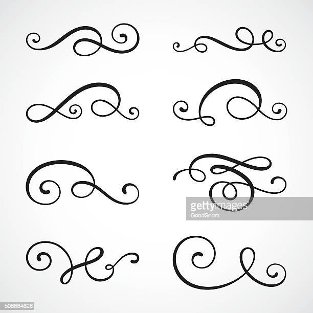 calligraphy swirls - decoration stock illustrations