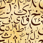 Calligraphy Urdu letters on old ancient scroll, abstract seamless pattern