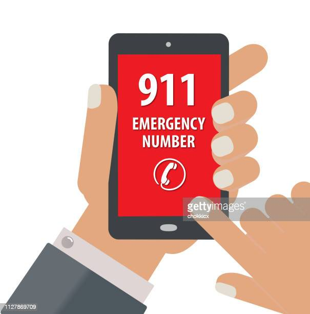 ilustrações, clipart, desenhos animados e ícones de ligar para o 911 - serviço de emergência e resgate