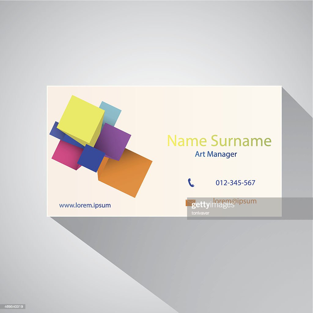Calling card of art manager.