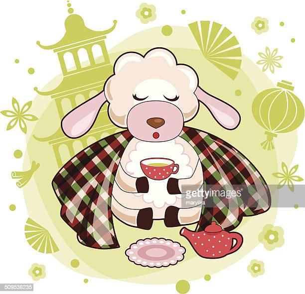 Calma ovejas en ceremonia del té con china de fondo