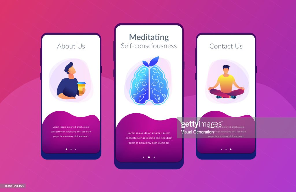 Calmness and releasing stress concept app interface template.