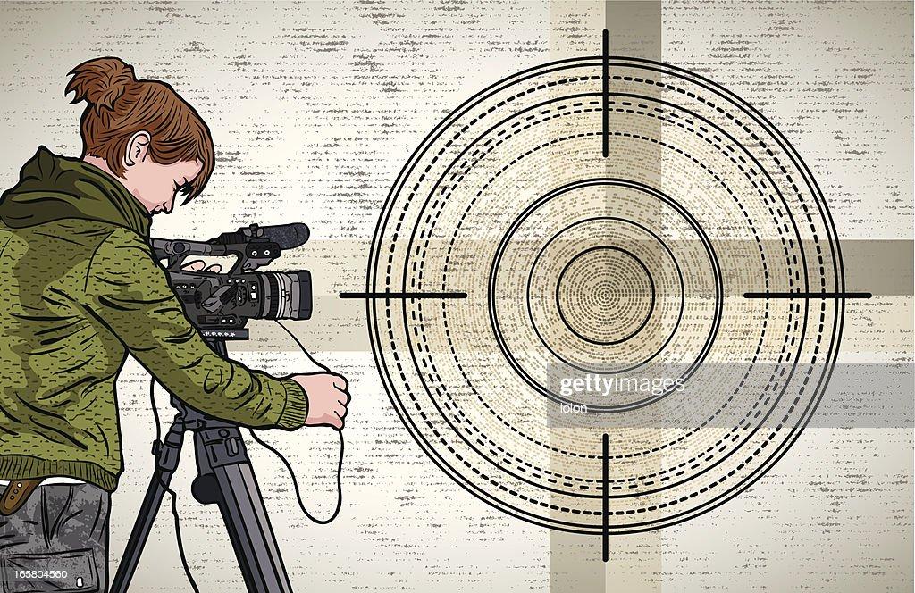 Grunge Camera Vector : Camara operator and grunge background vector art getty images