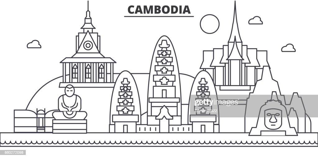 Cambodia architecture line skyline illustration. Linear vector cityscape with famous landmarks, city sights, design icons. Landscape wtih editable strokes