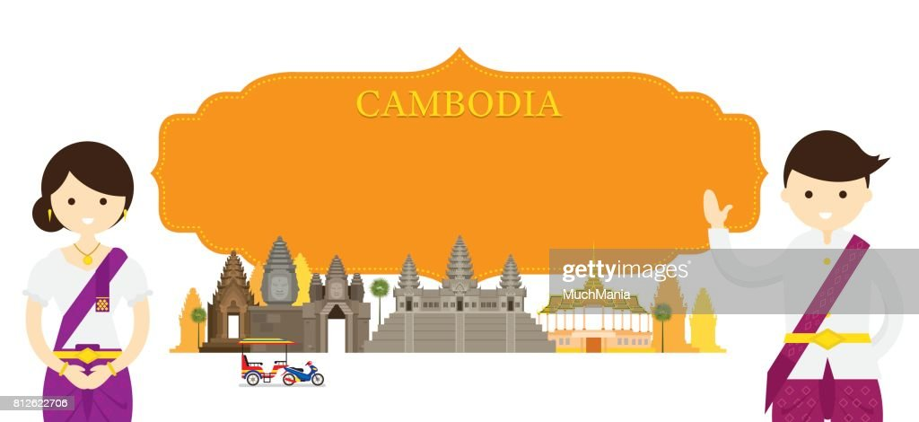 Cambodia Landmarks and people in Traditional Clothing