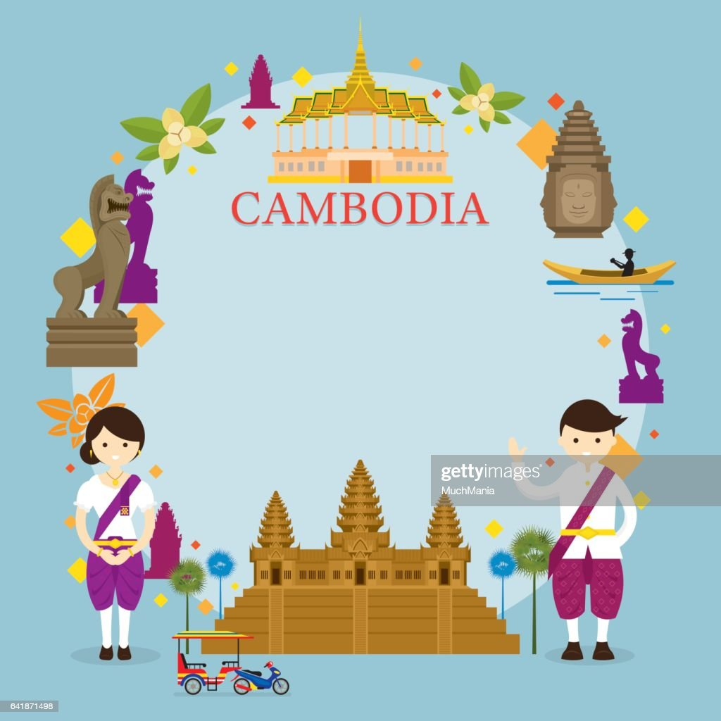 Cambodia Landmarks, People in Traditional Clothing, Frame