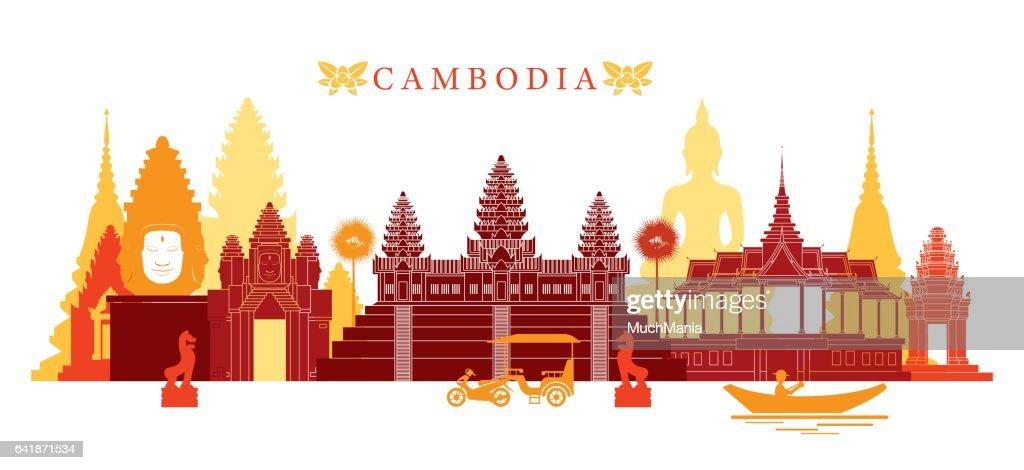 Cambodia Landmarks Skyline, Colourful