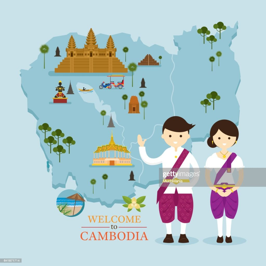 Cambodia Map and Landmarks with People in Traditional Clothing