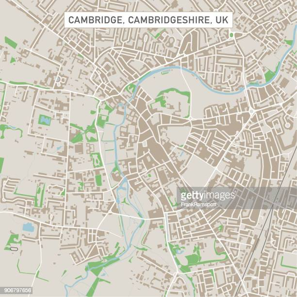 ilustrações de stock, clip art, desenhos animados e ícones de cambridge cambridgeshire uk city street map - cambridge cambridgeshire