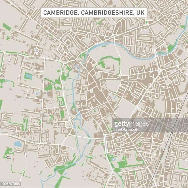 cambridge cambridgeshire uk city street map - cambridge stock illustrations