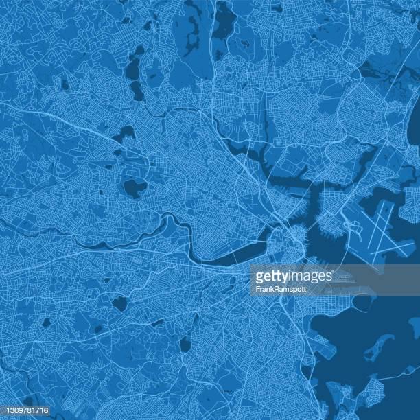 ケンブリッジma都市ベクトルロードマップブルー - マサチューセッツ州サマービル点のイラスト素材/クリップアート素材/マンガ素材/アイコン素材