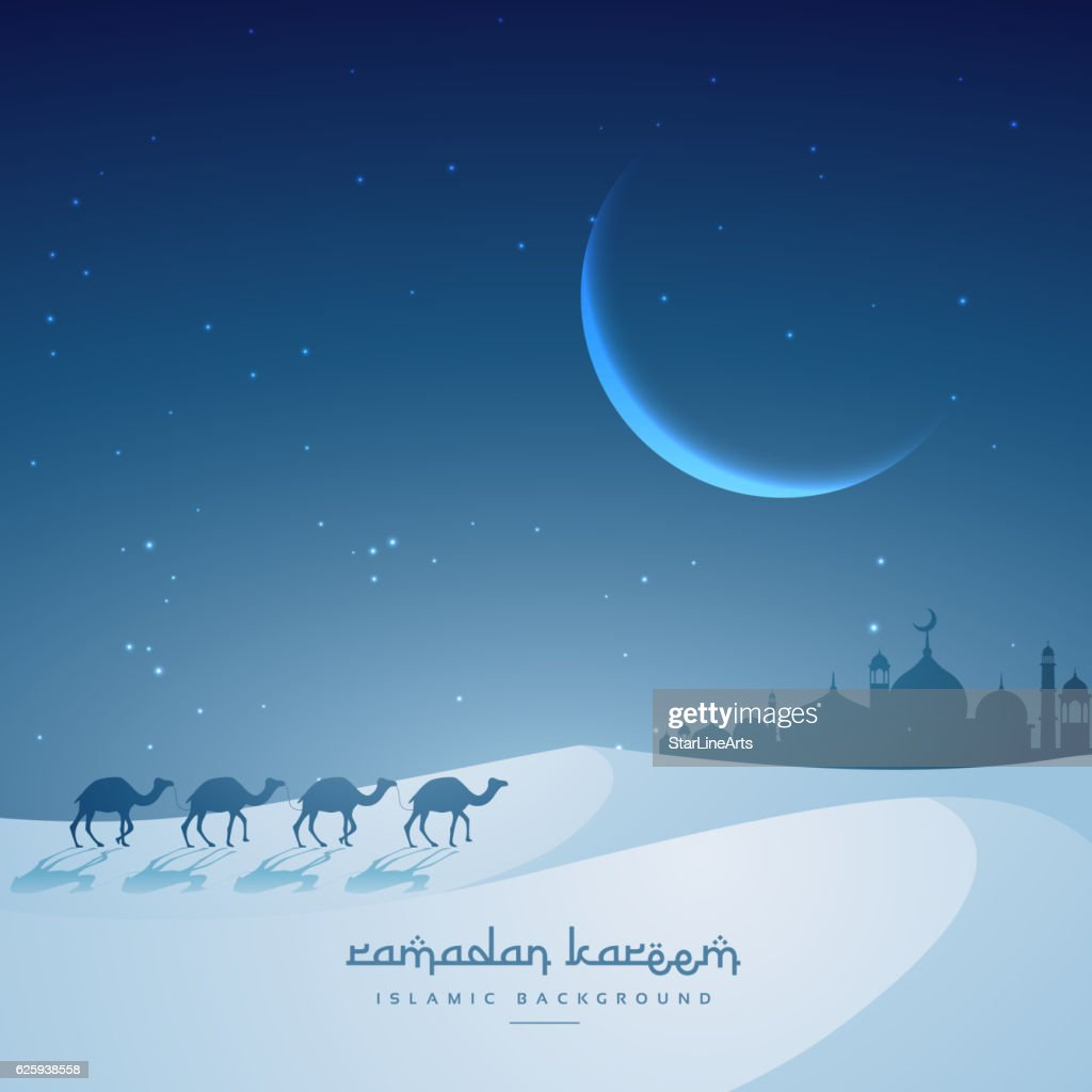 camel walking towards masjid ramadan kareem festival greeting