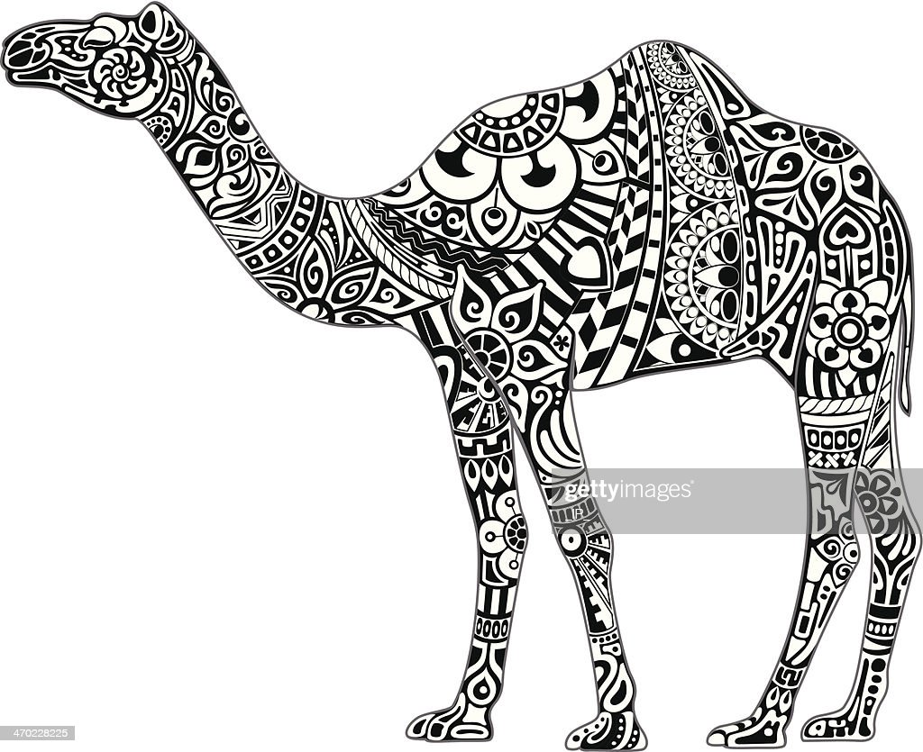 Camel with black & white ornament