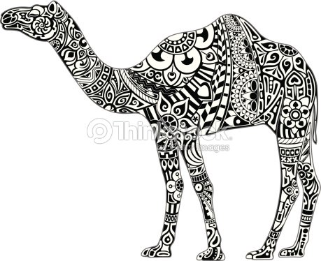 camel avec ornement noir blanc clipart vectoriel   thinkstock