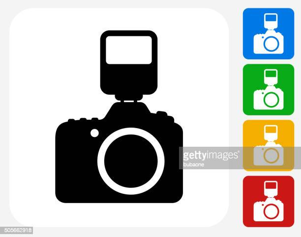 DSLR Camera and Flash Icon Flat Graphic Design