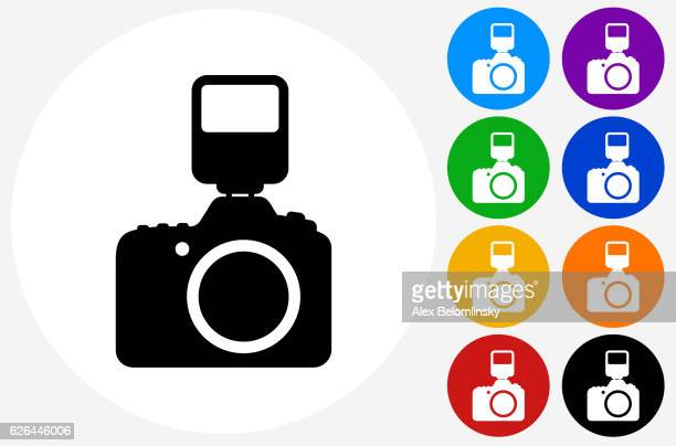 DSLR Camera and Flash Icon on Flat Color Circle Buttons