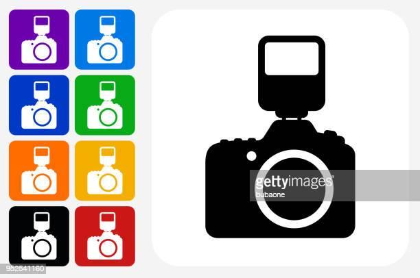 DSLR Camera and Flash Icon Square Button Set