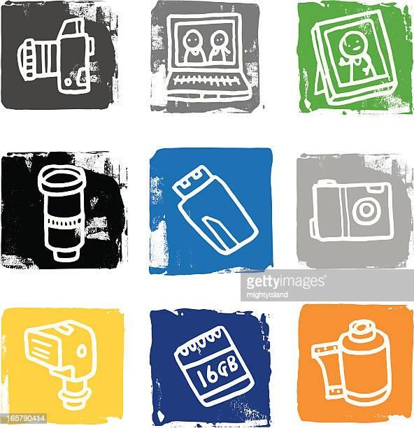 Camera and photography icon blocks