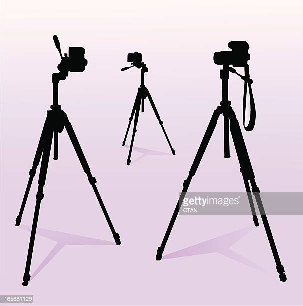 camera and tripod set - camera tripod stock illustrations, clip art, cartoons, & icons