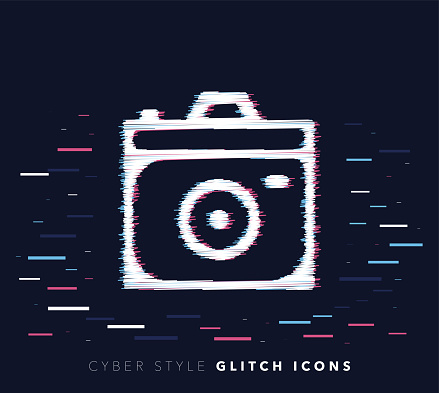 Camera Apps Glitch Effect Vector Icon Illustration - gettyimageskorea