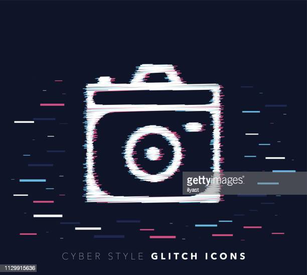 camera apps glitch effect vector icon illustration - auto post production filter stock illustrations