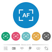 Camera autofocus mode flat round icons