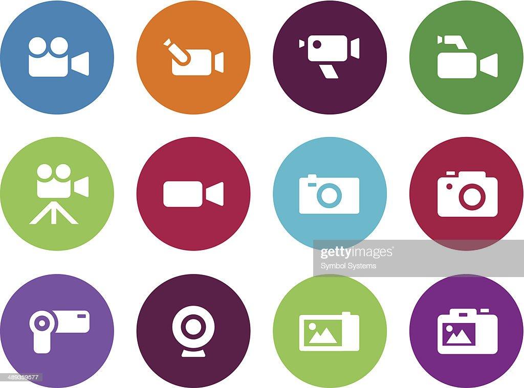 Camera circle icons on white background.