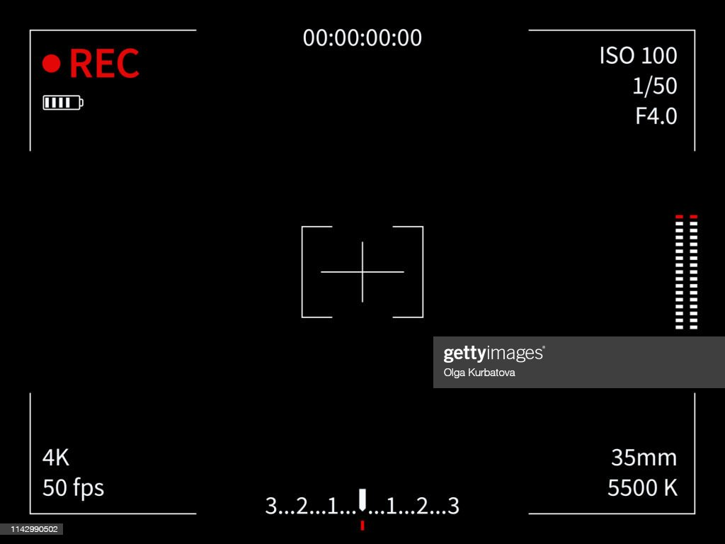 Camera display. Viewfinder recording focusing camera video screen capture photo movie lines frame finder viewer, black vector template