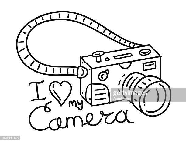 ilustraciones, imágenes clip art, dibujos animados e iconos de stock de cámara garabato - camara reflex