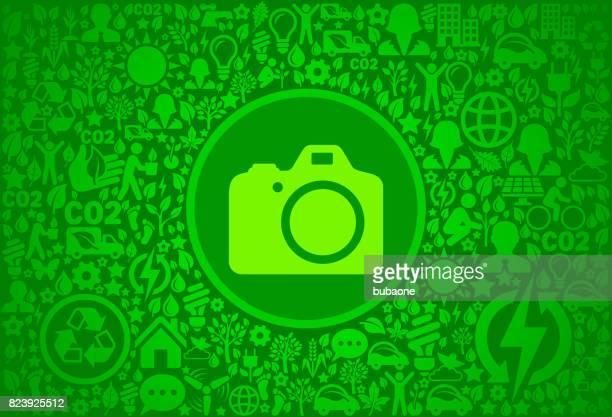 DSLR Camera Environment Green Vector Icon Pattern