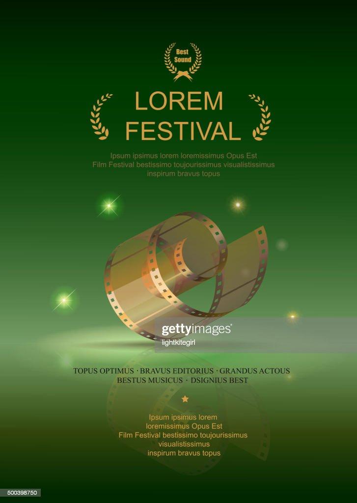Camera film 35 mm roll gold, festival movie poster, green