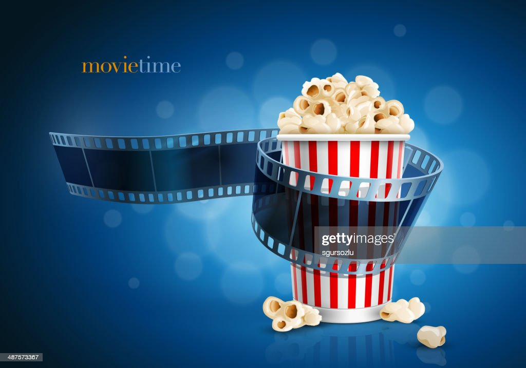 Camera film strip and popcorn.