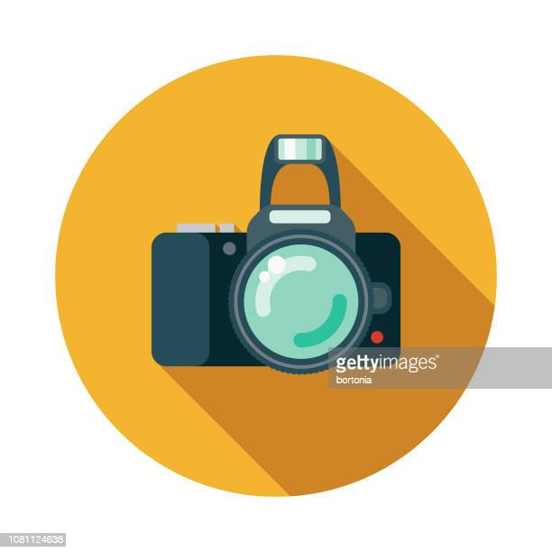 camera flat design appliance icon - digital camera stock illustrations