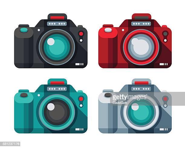 camera flat design set - photography themes stock illustrations