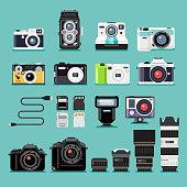 Camera flat icons.