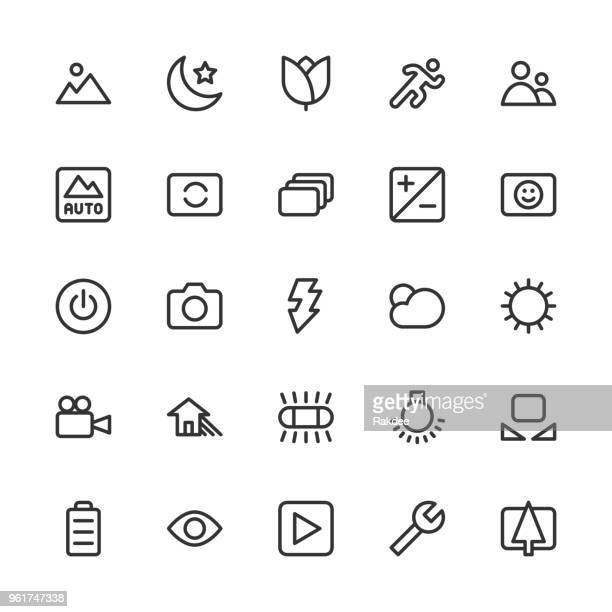 camera function icon set 1 - line series - customised stock illustrations