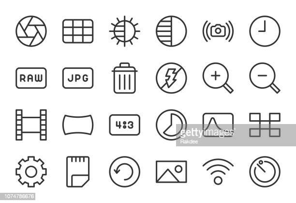 camera function icon set 2 - light line series - zoom in stock illustrations