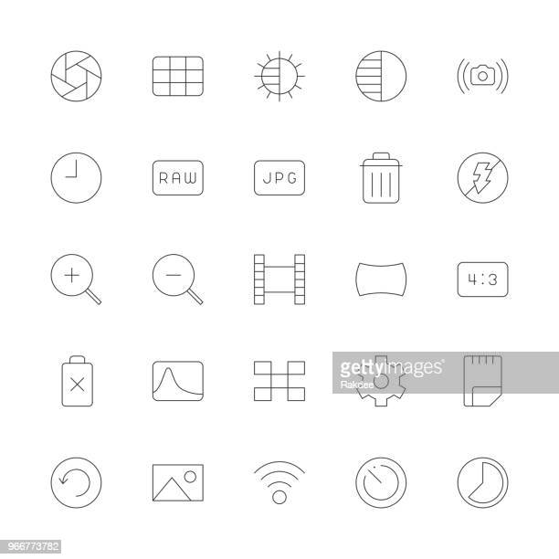 camera function icon set 2 - ultra thin line series - digital viewfinder stock illustrations