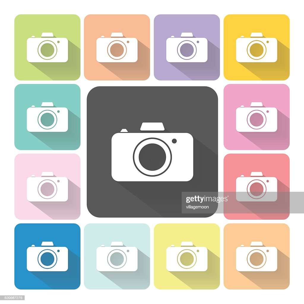 Camera Icon color set vector illustration