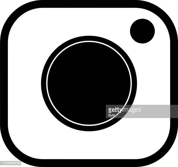 camera icon design flat vector line graphic logo - webcam media apparaat stock illustrations