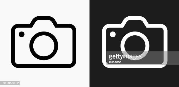 Camera Icon on Black and White Vector Backgrounds